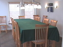 Shearwater's dining room with seating for 16 guests and an spectacular ocean view.