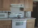Kitchen appliances and counters.